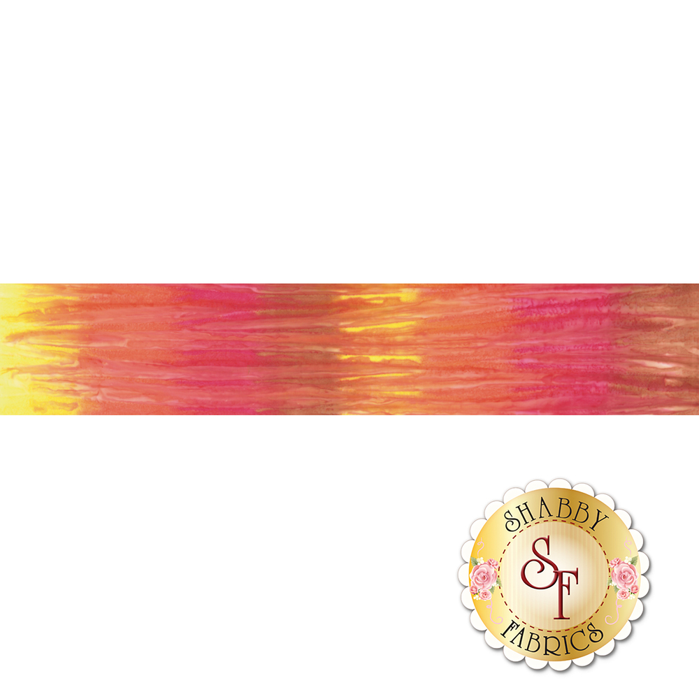 Yellow, orange, red, and brown marbled ombre batik   Shabby Fabrics