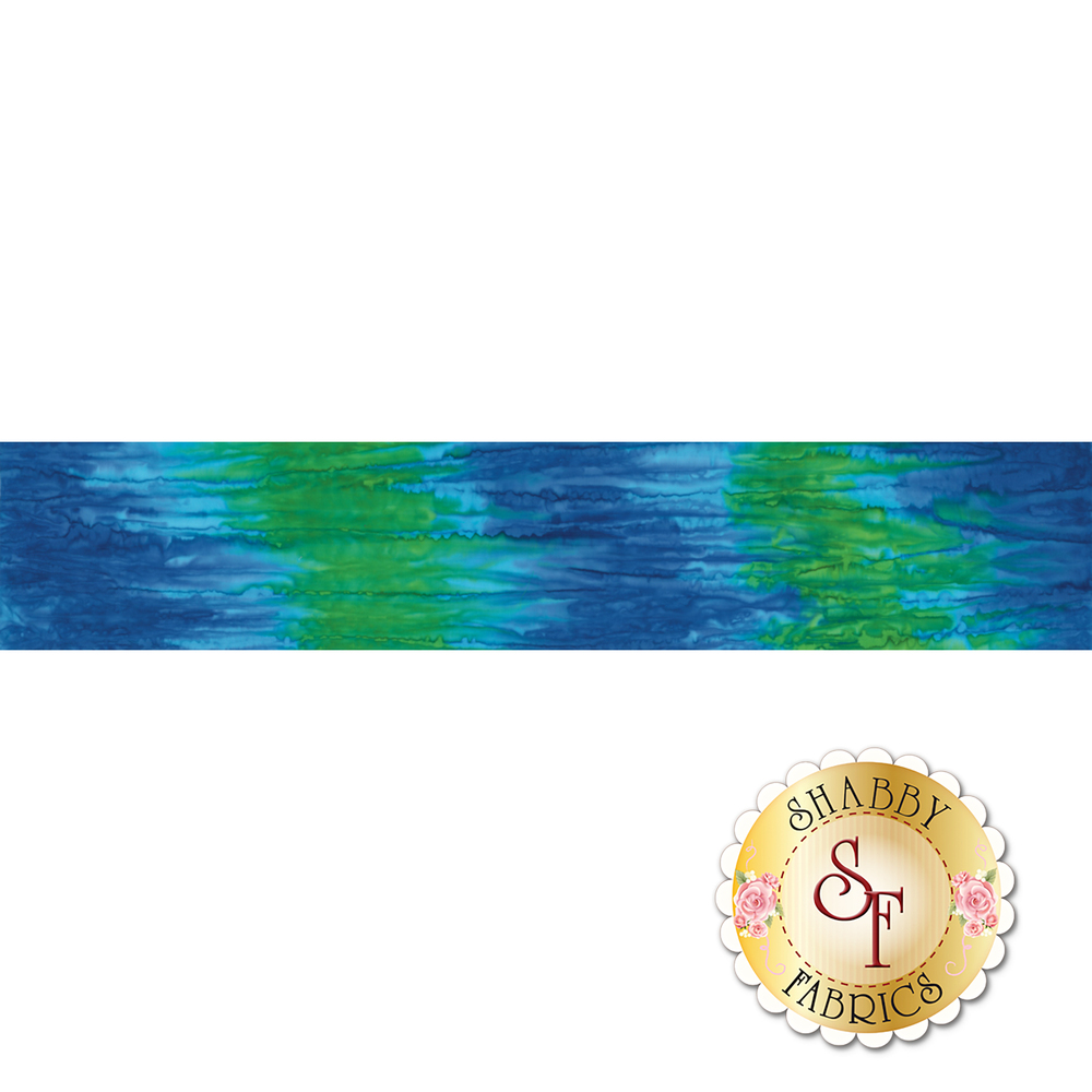 Green and blue marbled ombre batik | Shabby Fabrics