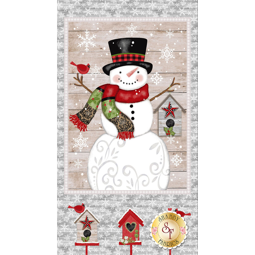 Panel fabric featuring birdhouses and large snowman   Shabby Fabrics