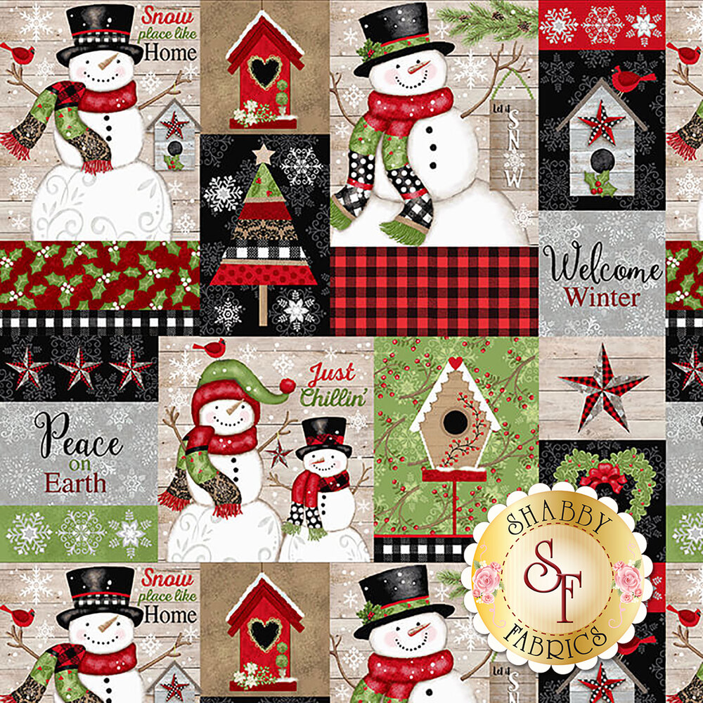 Patchwork fabric featuring snowmen, birdhouses, and trees | Shabby Fabrics