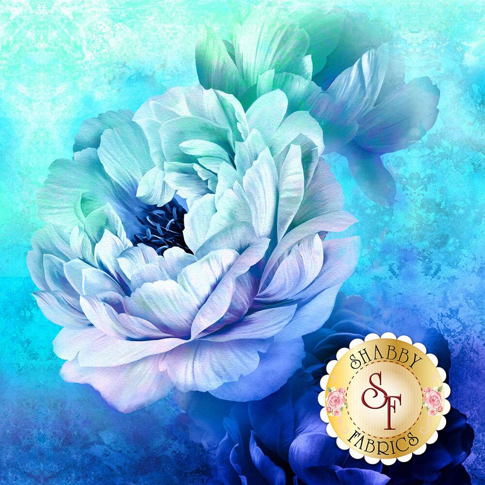 Large floral design on textured blue background | Shabby Fabrics