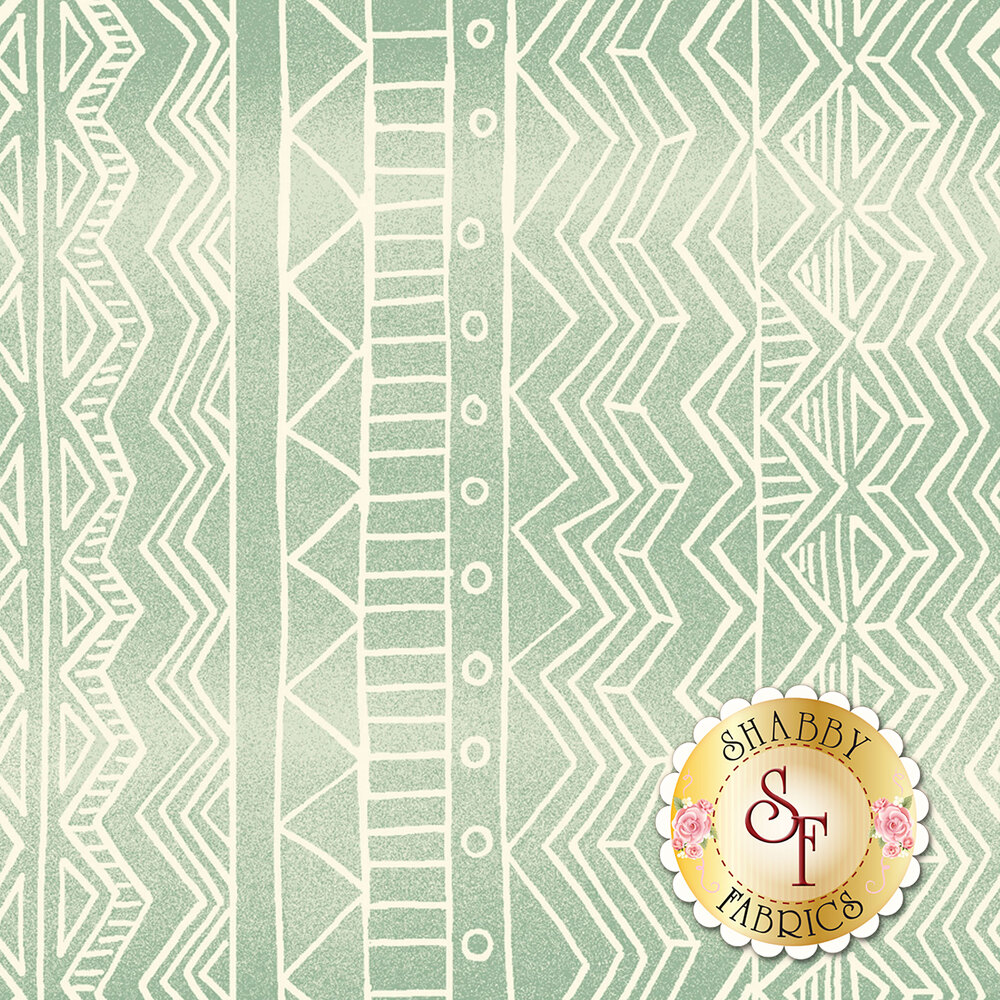 Wavy cream stripe design on light teal background | Shabby Fabrics