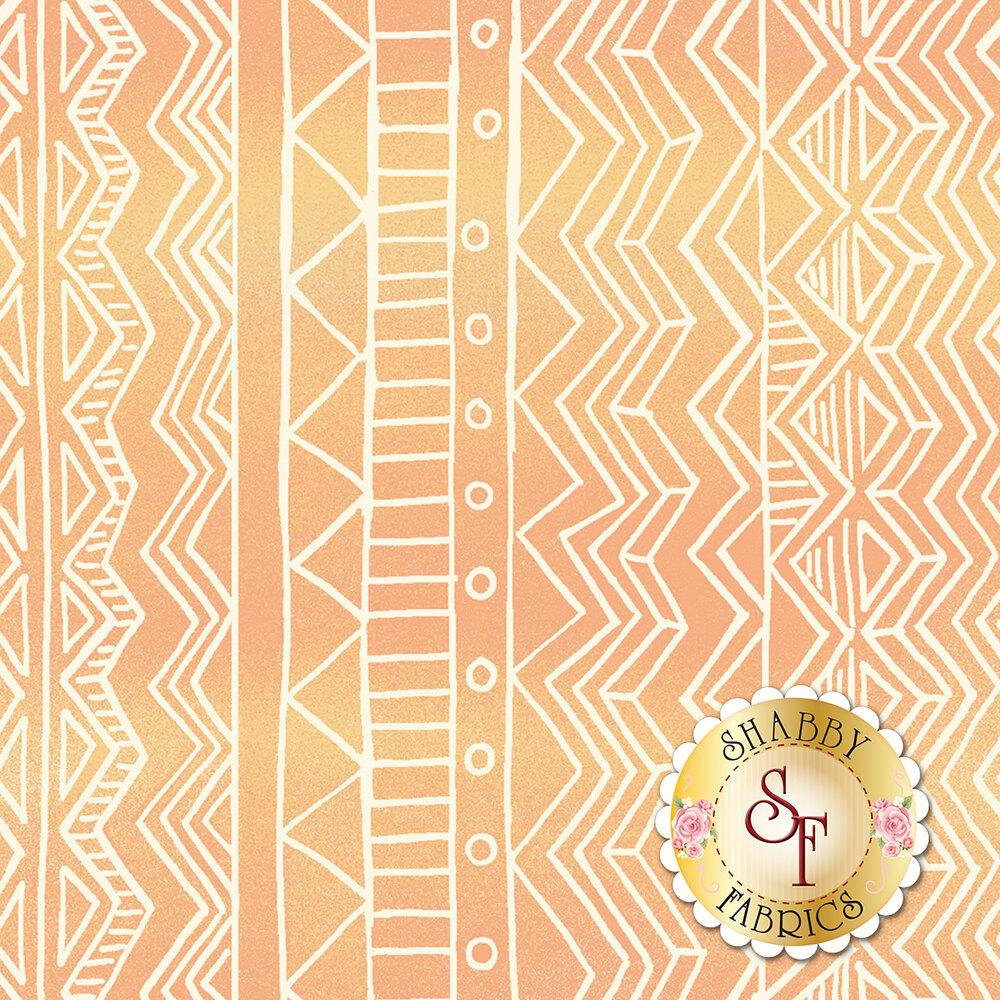 Wavy cream stripe design on orange background | Shabby Fabrics