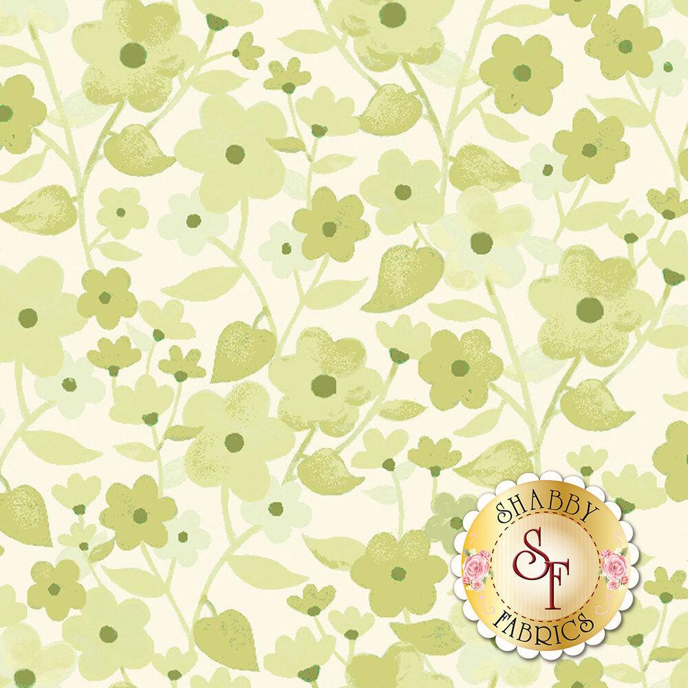 Light green flowers on cream background | Shabby Fabrics
