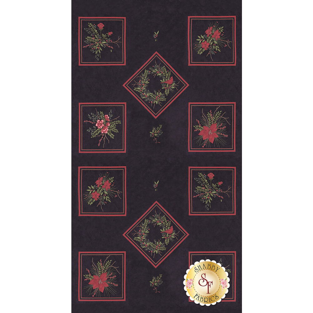 Panel featuring 10 squares with floral designs on black | Shabby Fabrics