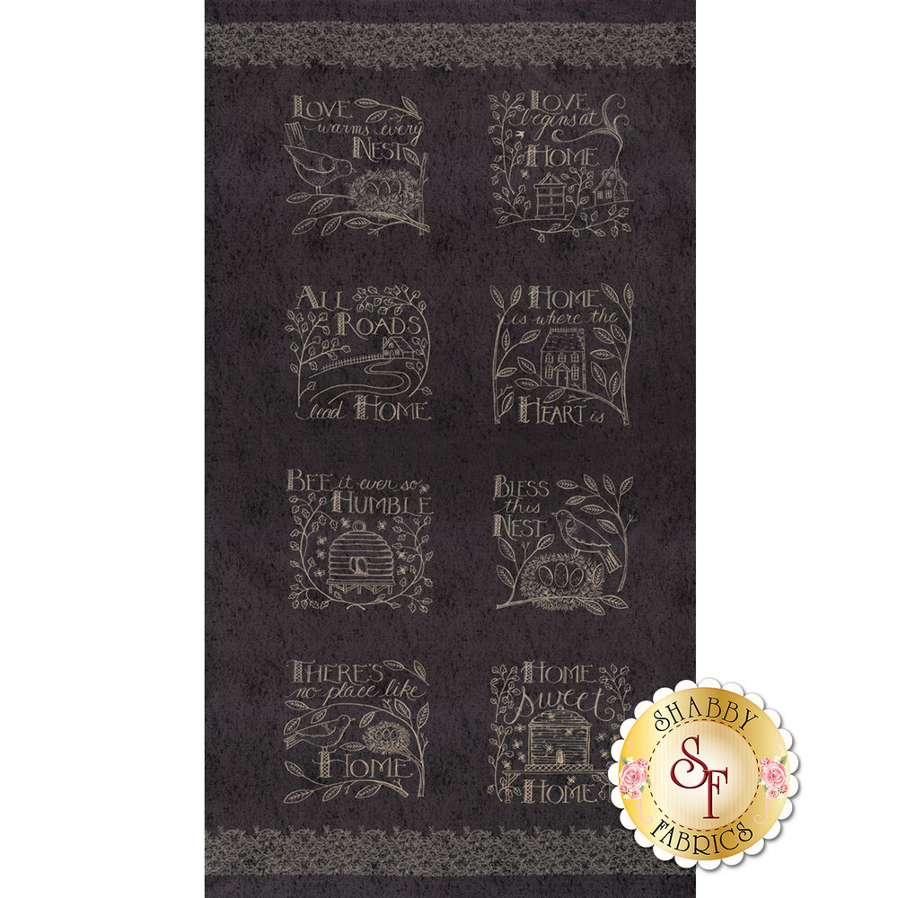 Black panel featuring 8 home themed blocks | Shabby Fabrics