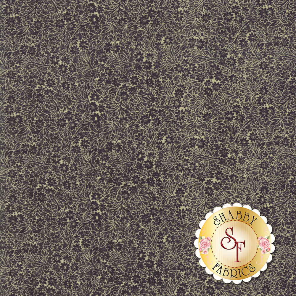 Dark gray packed floral design with gold  Shabby Fabrics