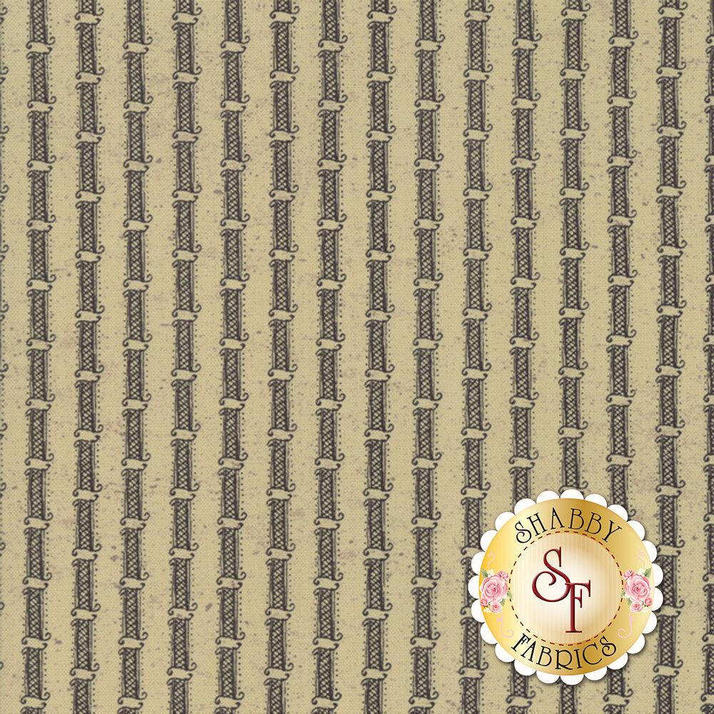 Gray stripe on tan | Shabby Fabrics