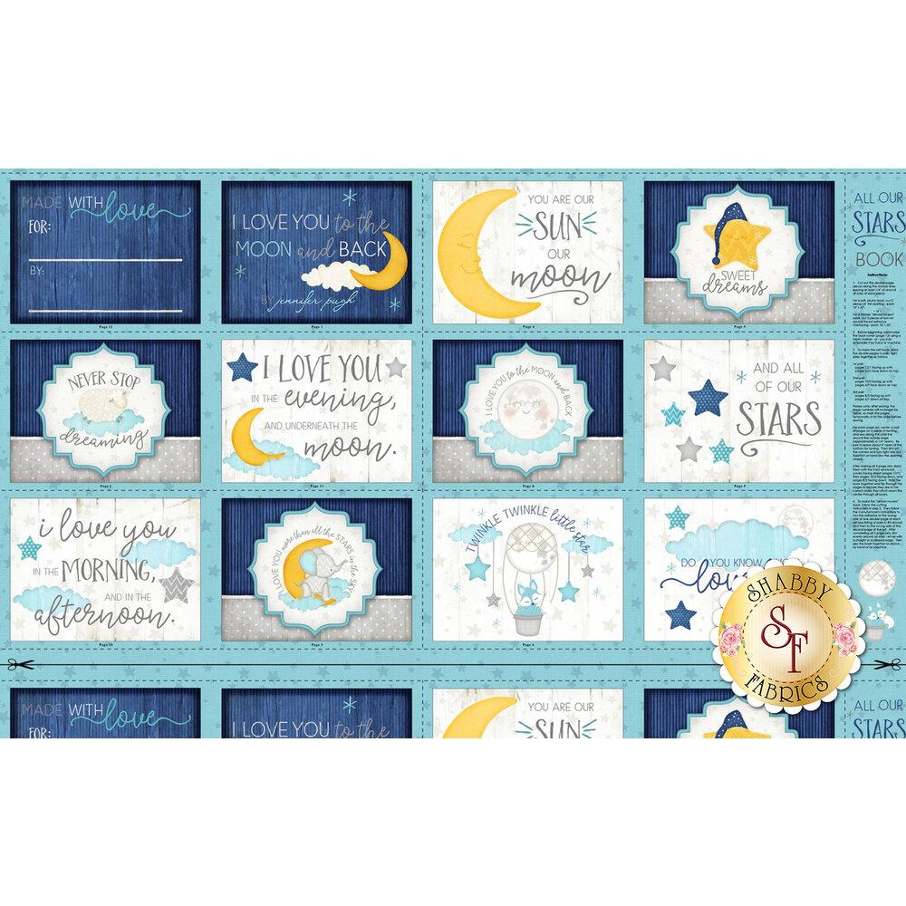 Panel fabric with cute sleep themed blocks | Shabby Fabrics