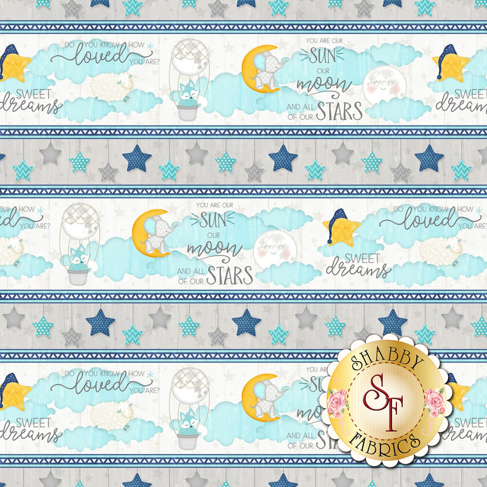 Grey and blue border stripe with sky design and phrases | Shabby Fabrics