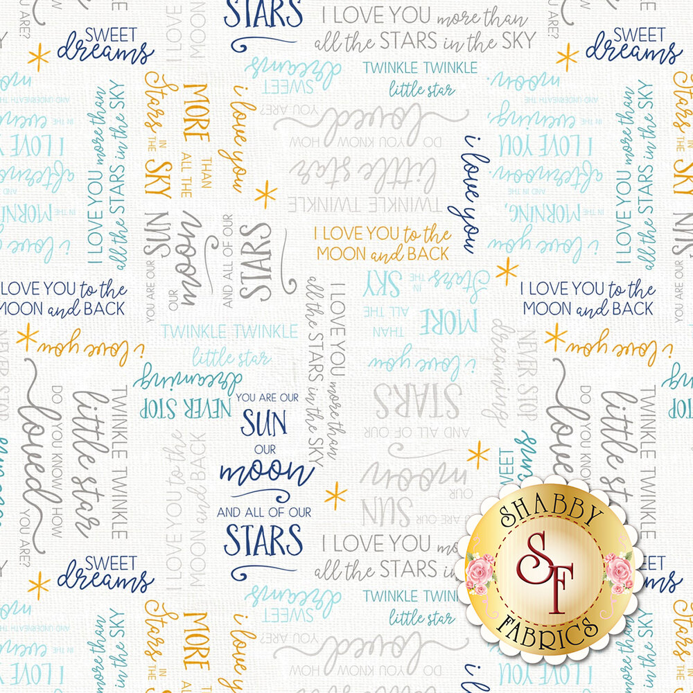 Blue, gray, and yellow words all over textured white | Shabby Fabrics