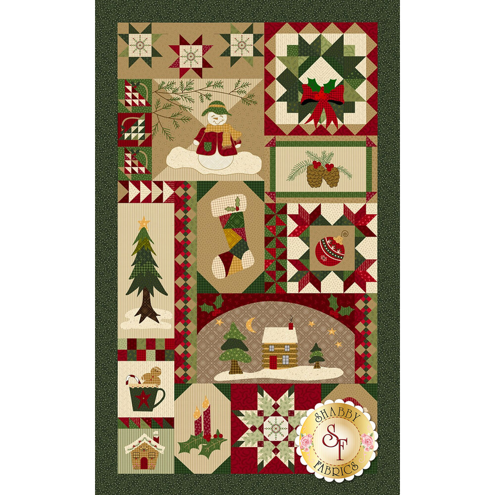 Patchwork Christmas panel featuring snowmen, Santa, stockings, etc. - Shabby Fabrics
