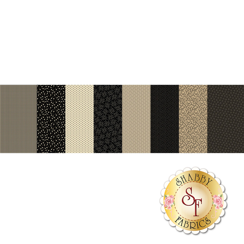 Patchwork fabric featuring various black and cream designs | Shabby Fabrics