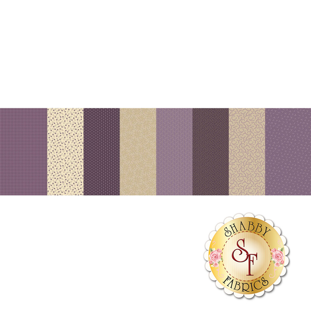 Patchwork fabric featuring various purple and cream designs | Shabby Fabrics