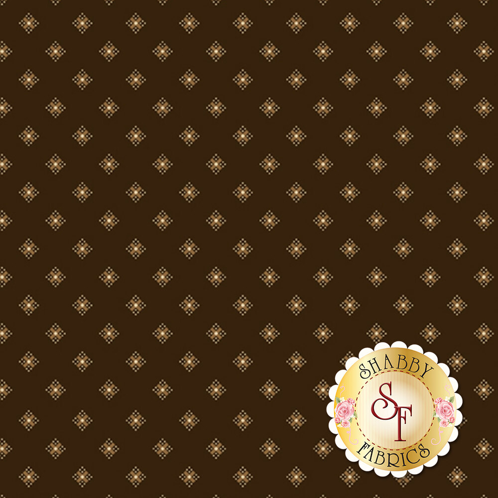 Tonal dark brown fabric with light tan diamonds all over | Shabby Fabrics