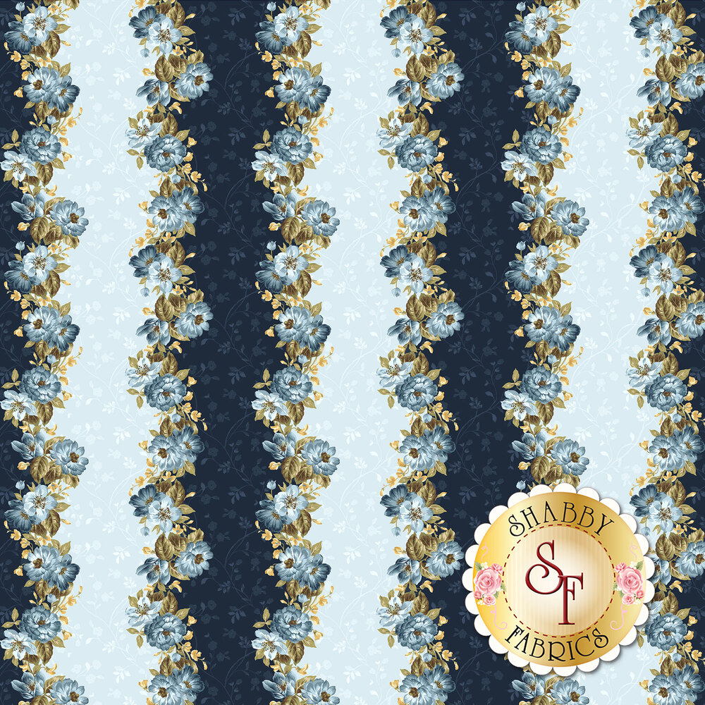English Countryside 9162-B Floral Stripe Blue by Maywood Studio