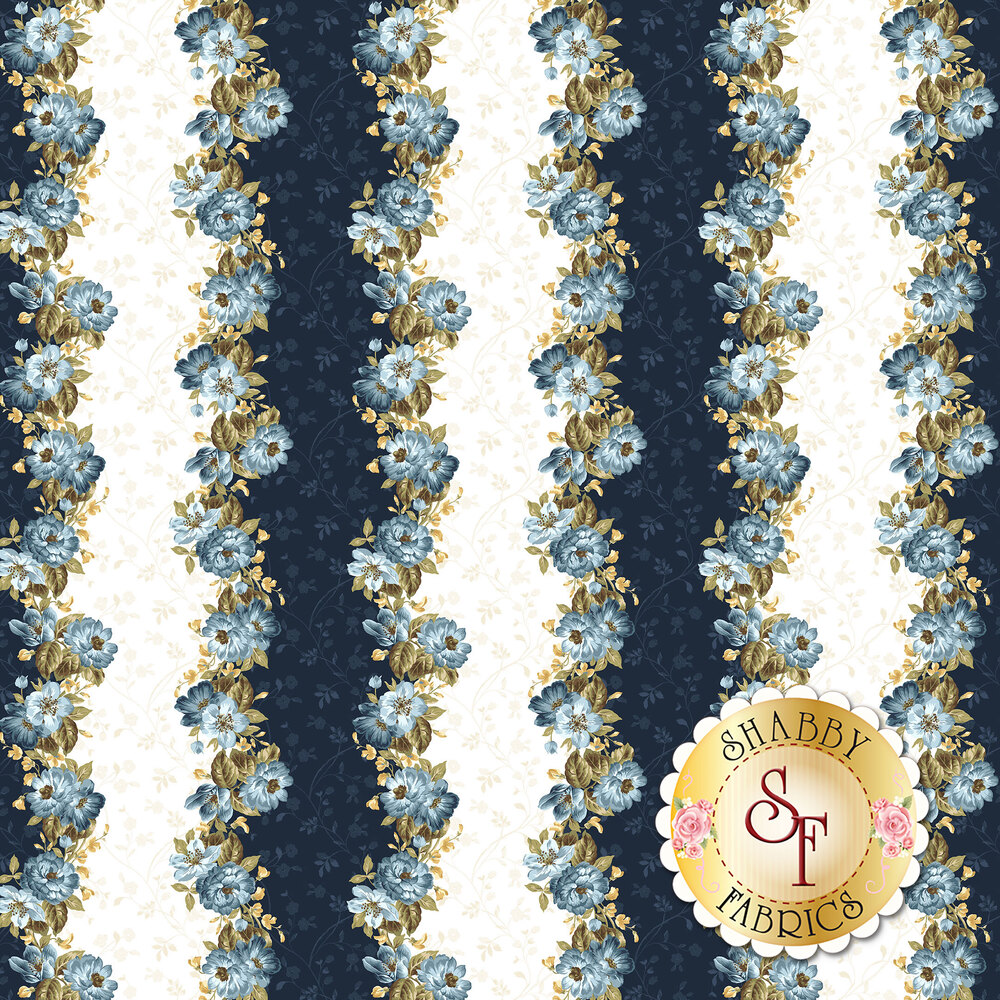 English Countryside 9162-E Floral Stripe Natural by Maywood Studio