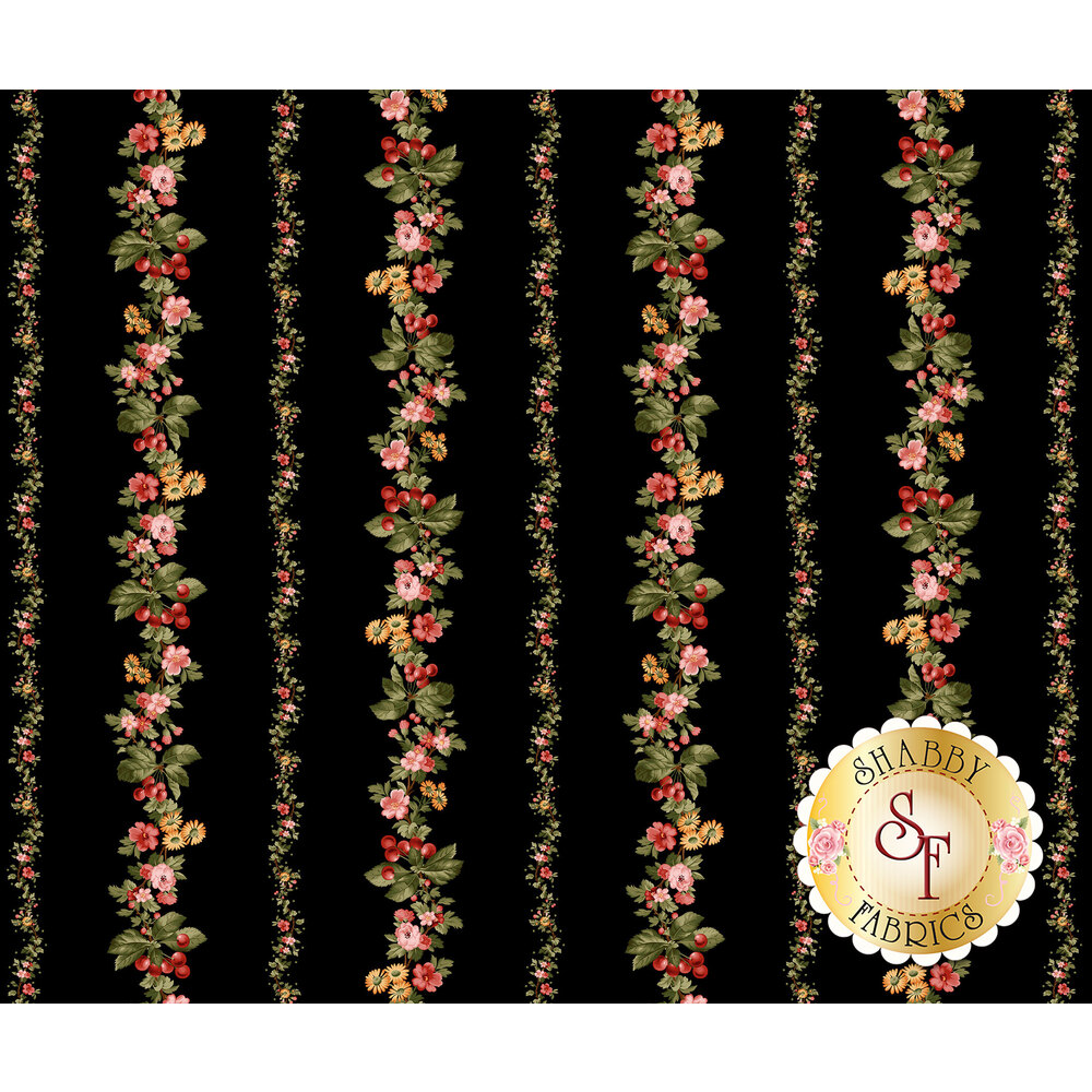 Colorful flower stripes on a black background | Shabby Fabrics