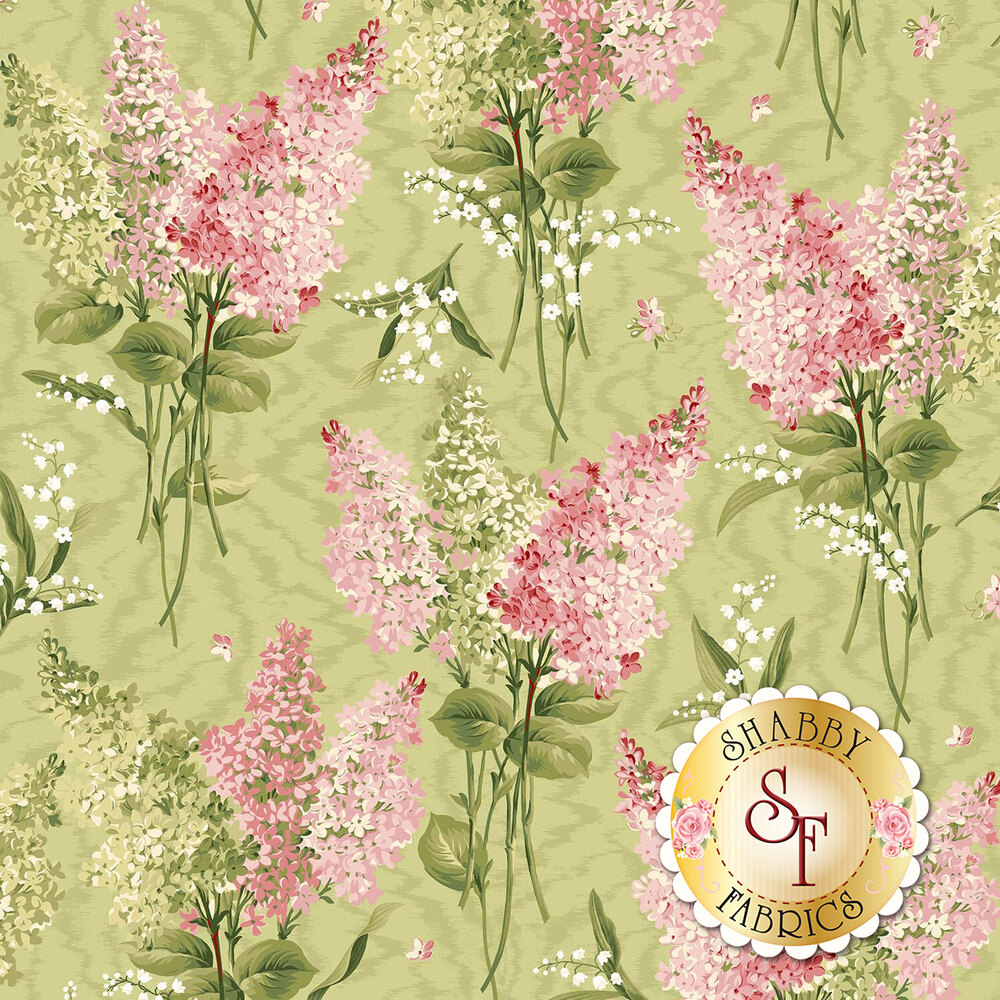 Pink and green flowers all over mottled green | Shabby Fabrics
