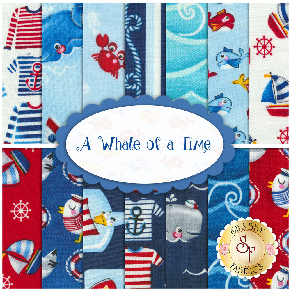 A collage of the 14 fabrics included in the A Whale of a Time FQ Set | Shabby Fabrics