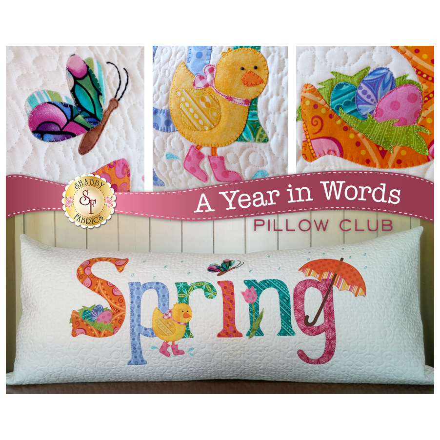 Pattern for April A Year In Words pillow reading Spring with yellow chick on white fabric.