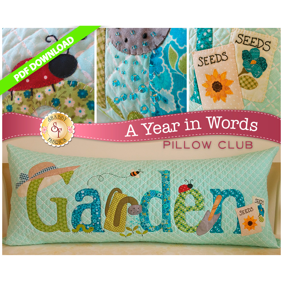 PDF Pattern for June A Year In Words pillow reading Garden with gardening tools on blue fabric.
