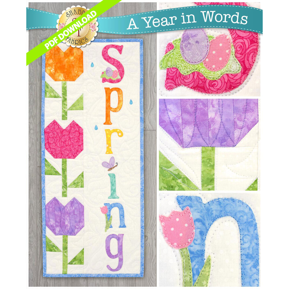 PDF Pattern for A Year In Words Wall Hangings April reading Spring with bright colored tulip blocks.