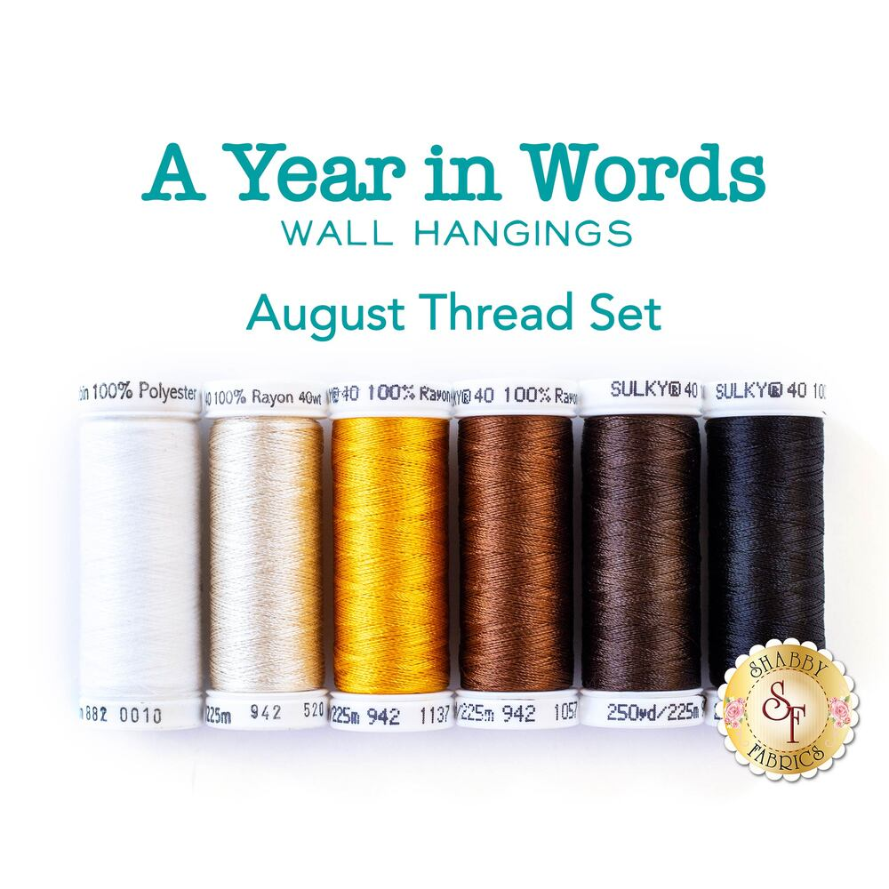 A Year In Words Wall Hangings - Sunshine - August - 6pc Thread Set