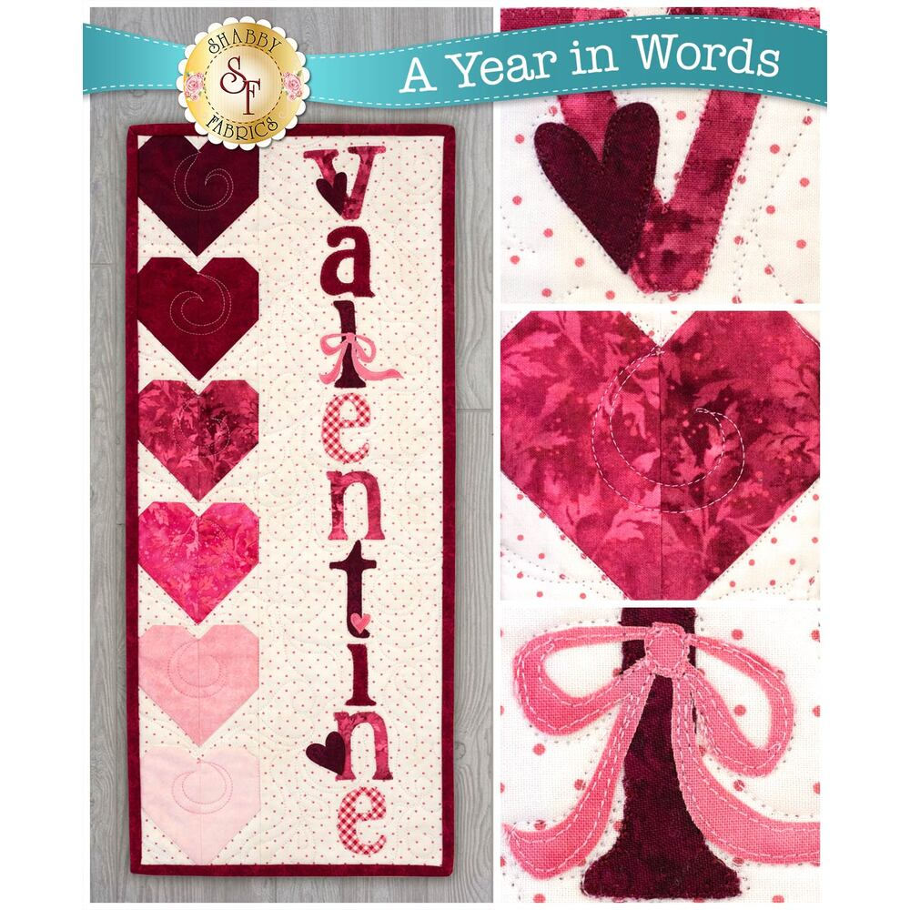 A Year In Words Wall Hangings - Valentine - February - Pattern available at Shabby Fabrics