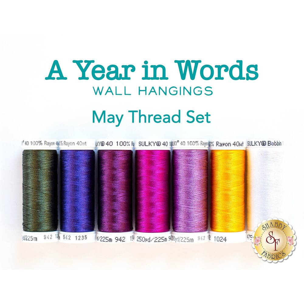 A Year In Words Wall Hangings - Flowers - May - 7pc Thread Set