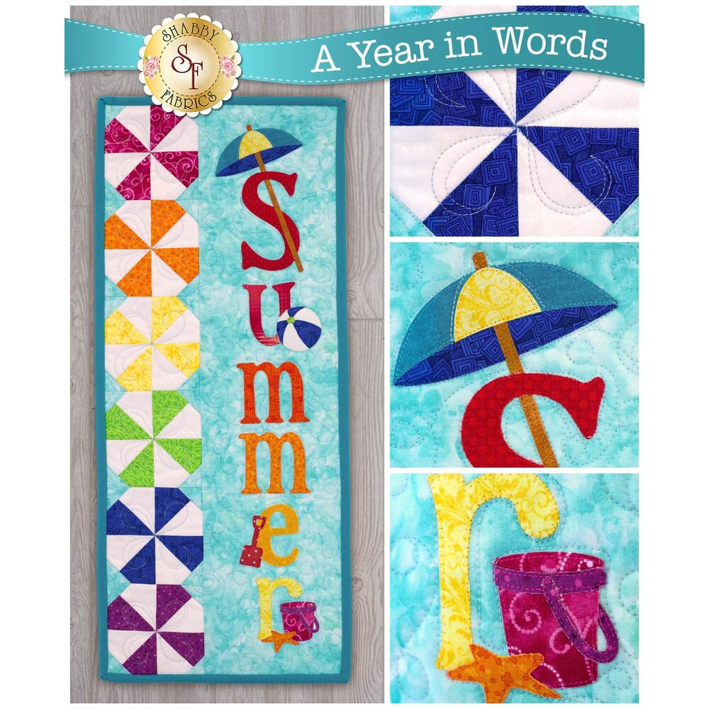 Kit for A Year In Words Wall Hangings July reading Summer with beach ball blocks on blue.