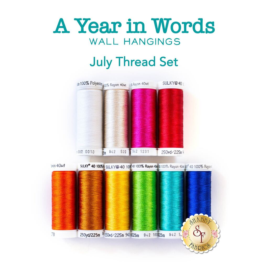 A Year In Words Wall Hangings - Summer - July - 10 pc Thread Set
