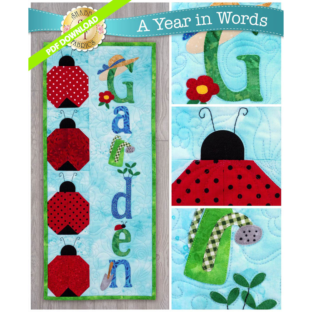 A Year in Words Wall Hanging Pattern - Garden - June - PDF Download at Shabby Fabrics
