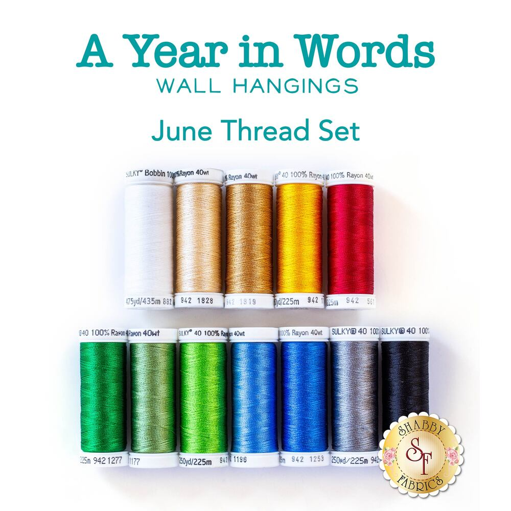 A Year In Words Wall Hangings - Garden - June - 11pc Thread Set