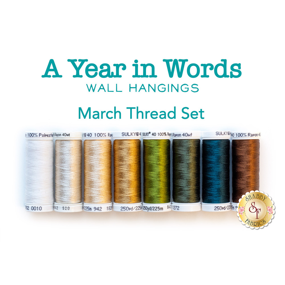 8 coordinating thread set for A Year In Words Wall Hangings March | Shabby Fabrics