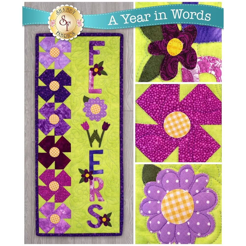 Kit for A Year In Words Wall Hangings May reading Flowers with purple flower pinwheels on green.