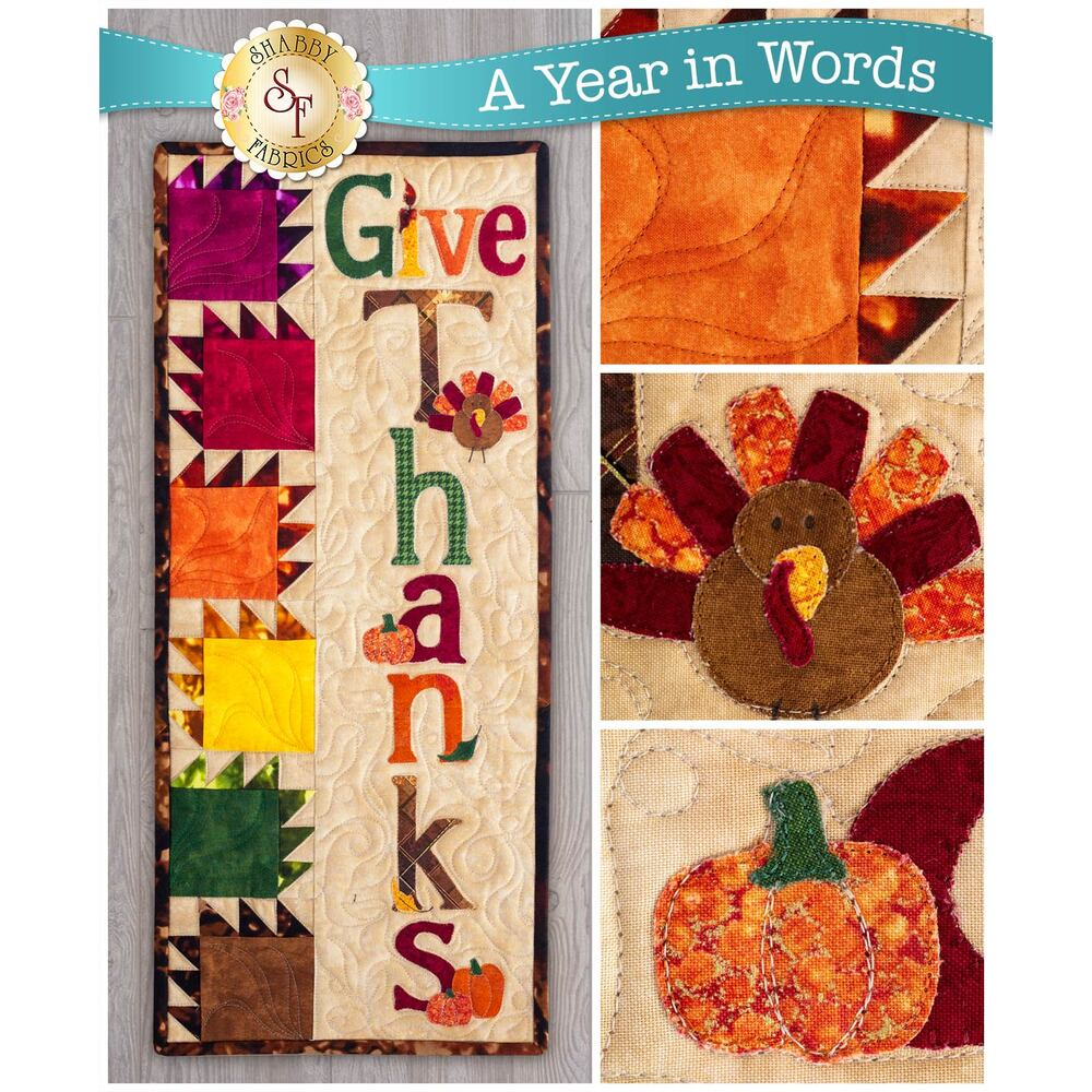 Kit for A Year In Words Wall Hanging Kit November reading Give Thanks with turkey and leaf blocks.