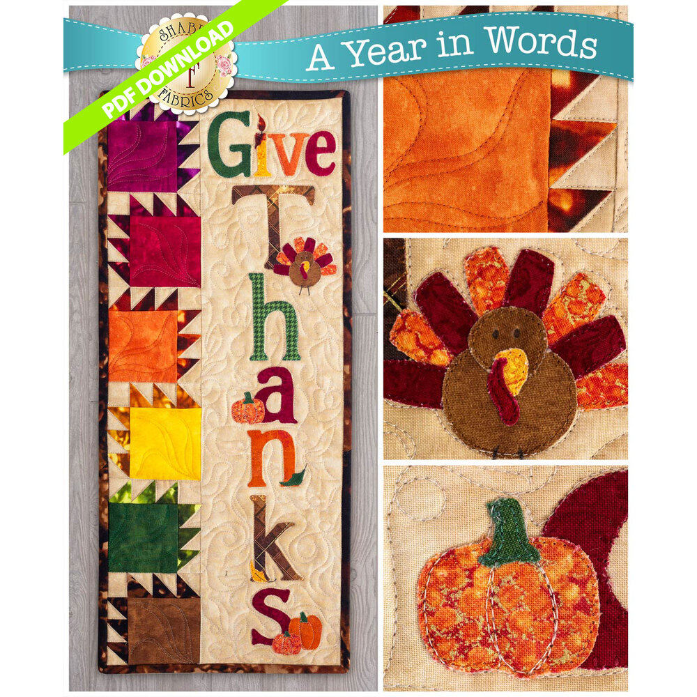 A Year in Words Wall Hanging Pattern - Give Thanks - November - PDF Download at Shabby Fabrics