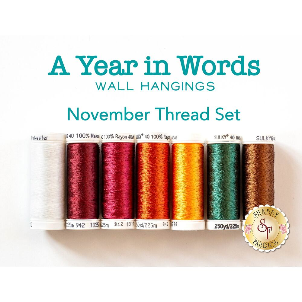 A Year In Words Wall Hangings - Give Thanks - November - 7pc Thread Set