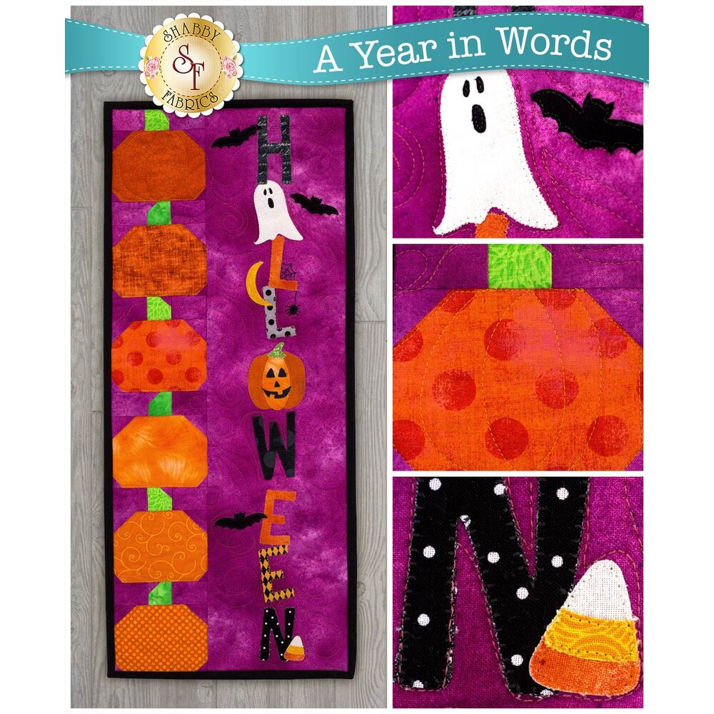 Kit for A Year In Words Wall Hangings October reading Halloween with spooky motifs.