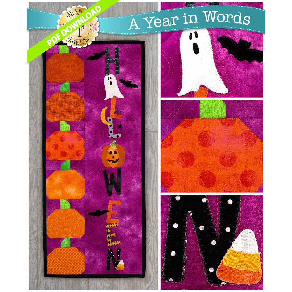 PDF Pattern for A Year In Words Wall Hangings October reading Halloween with spooky motifs.