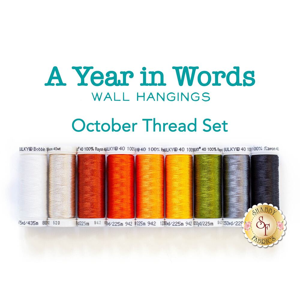 A Year In Words Wall Hangings - Halloween - October - 9pc Thread Set