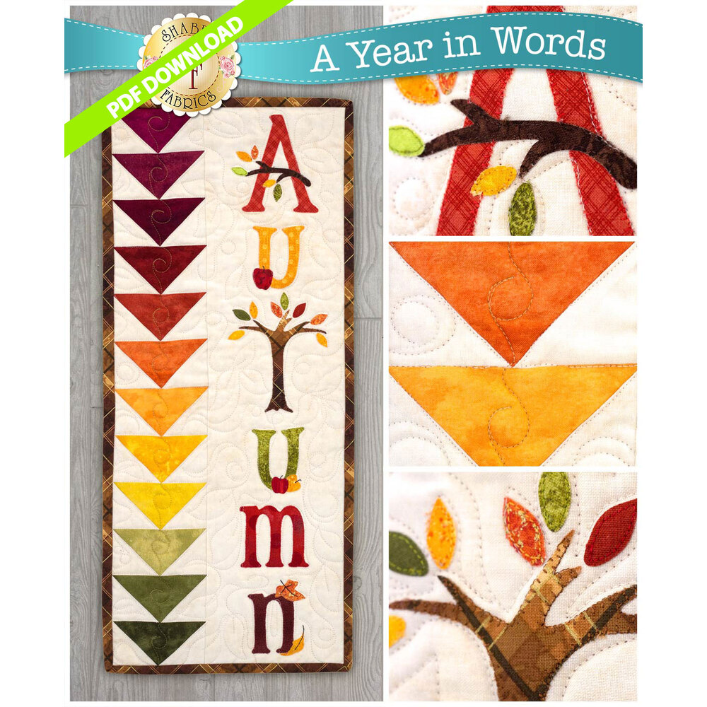 PDF Pattern for September A Year In Words wall hanging reading Autumn with fall color scheme.