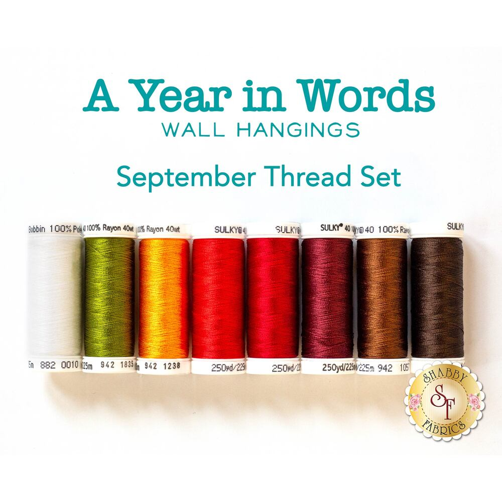 A Year In Words Wall Hanging Autumn - September Thread Set - 8pc from Sulky