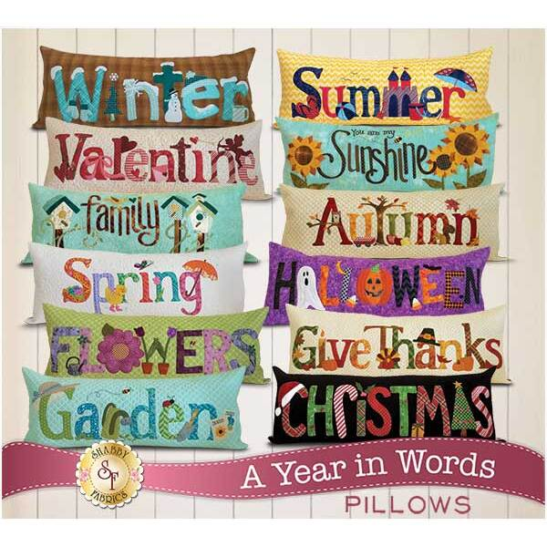 Set of 12 A Year In Words seasonal pillow patterns