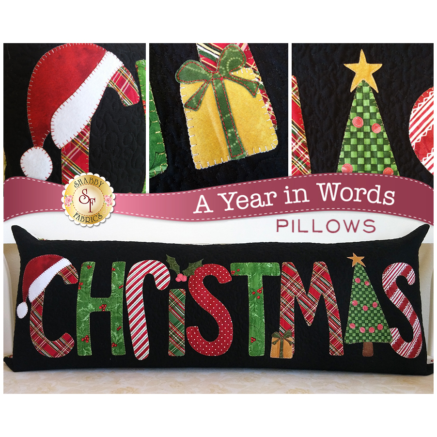 Kit for December A Year In Words pillow pattern reading Christmas with red and green plaid letters.
