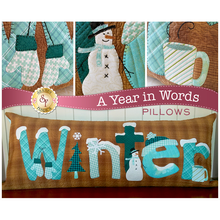 Pattern for January A Year In Words pillow reading Winter with snowmen and blue mittens on brown.