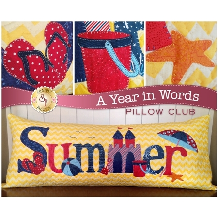 Pattern for July A Year In Words pillow reading Summer with a sandcastle and yellow beach.