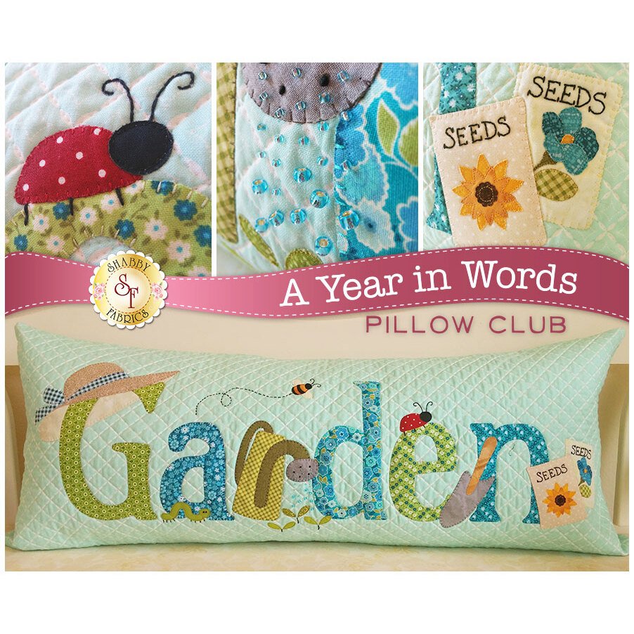 Pattern for June A Year In Words pillow reading Garden with gardening tools on blue fabric.