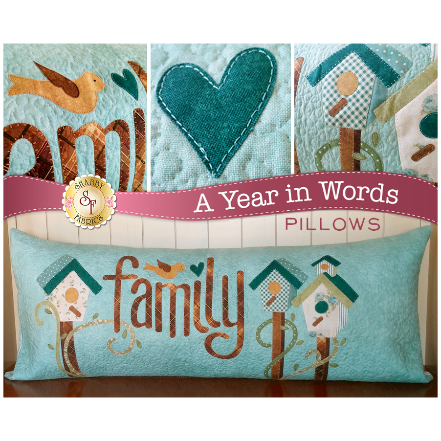 Kit for March A Year In Words pillow reading Family with two white birdhouses on aqua fabric.